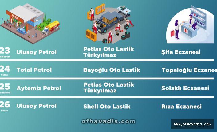 Of'ta 4 günlük Nöbetçi petrol, lastikçi ve eczaneler belirlendi