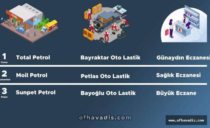Of'ta 1-3 Mayıs Nöbetçi petrol, lastikçi ve eczaneler belirlendi