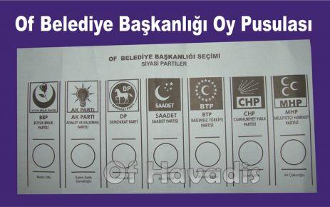 Oflu seçmenlerin oylayacağı pusulalar