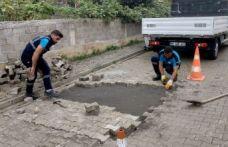 Trabzon Büyükşehir bozulan yolları onarıyor