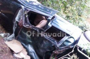 Saraçlı'da araç yuvarlandı; 6 yaralı