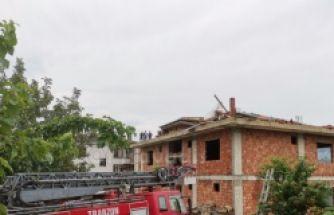 Of'ta inşaatın çekme katı çöktü 1 ölü, 1 yaralı