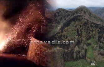 Of Havadis Kıyıcık'ta yanan alanı havadan görüntüledi