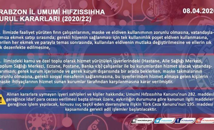Trabzon İl Umumi Hıfzıssıhha Kurulundan maske kararı
