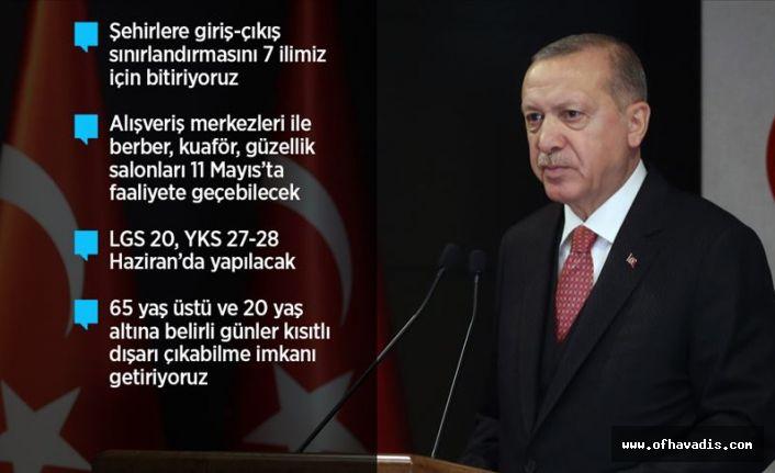 Cumhurbaşkanı Erdoğan: Normal hayata dönüşü kademe kademe başlatacağız