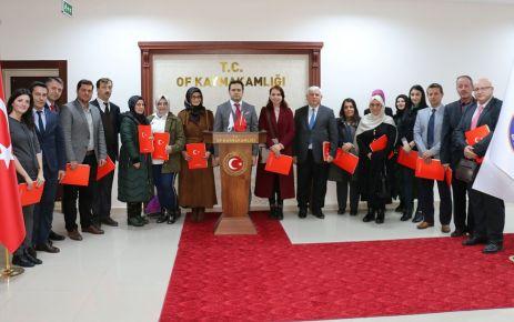 Kaymakam Fırat'tan eğitimcilere başarı belgesi dopingi
