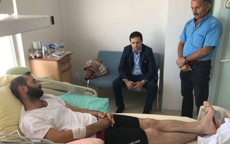 Kaymakam Fırat'tan Gazi Polis Öztel'e ziyaret