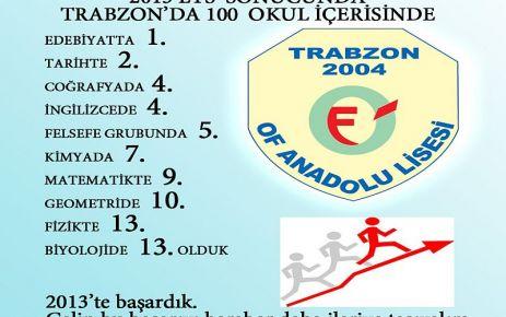 Of Anadolu Lisesi derslerde de şampiyon
