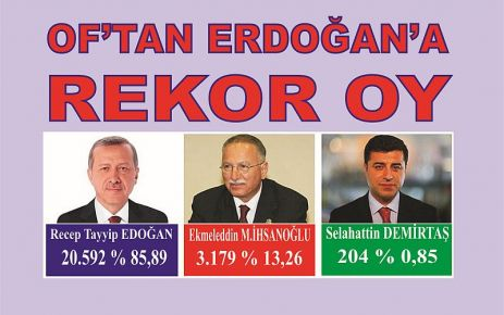 Of'tan Recep Tayyip Erdoğan'a rekor oy