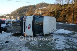 Of'ta buzlanma kazası; 1 yaralı