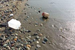 Önce kumsalı temizlediler sonra denize girdiler