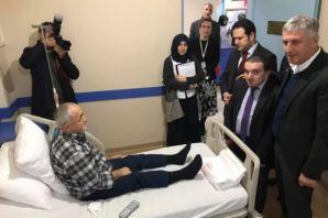 Kaymakam Fırat ve Başkan Sarıalioğlu'ndan hastalar