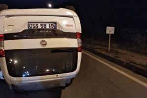 Araç takla attı sürücüsü yaralandı