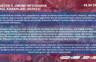 Trabzon İl Umumi Hıfzıssıhha Kurulundan maske...