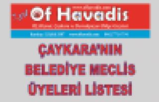 Çaykara'nın Belediye Meclis Üyeleri belli oldu